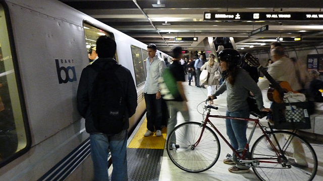 BART commuter with bicycle