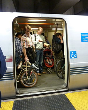BART commuters with bikes