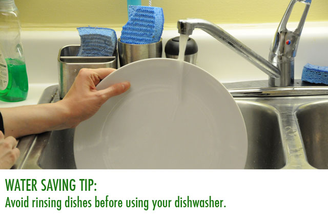 Avoid rinsing dishes before using the dishwasher.